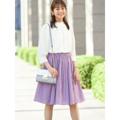 【大きいサイズ】ギャザースカート(ひざ中丈) 大きいサイズ スカート レディース