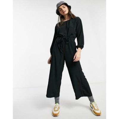 モンキ レディース ワンピース トップス Monki wide leg jumpsuit in black Black