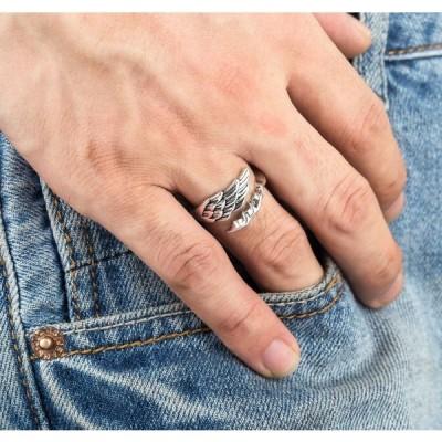 指輪 リング メンズ 男性 デザインリング メンズアクセサリー オープンリング シルバー レトロ やり 羽毛 天使の羽 おしゃれ かっこいい カジュア