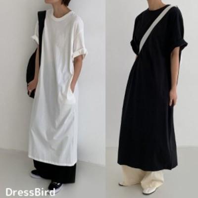 ワンピース 半袖ワンピ Tシャツワンピ 無地 ホワイト ブラック ルーズ リラックス ゆったり ロング丈  ロングスカート mme5257