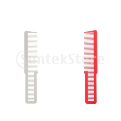 ヘアカットコーム 中歯 静電気防止 ショート スポーツ刈り カット ヘアクリッパー櫛 プロ用 2本 赤 白