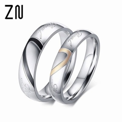 ステンレス鋼の カップル リング ジュエリー 結婚 指輪 男性 レディース リング セット ロマンチックなハート ジュエリー カップル リン