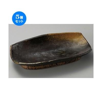 5個セット ☆ 萬古焼大皿 ☆ 琥珀10.0長角盛皿 [ 310 x 185 x 55mm ] 【料亭 旅館 和食器 飲食店 業務用 】