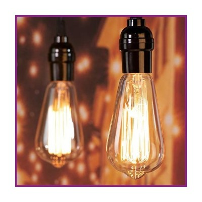 Minetom Edison Light Bulbs 60W 4 Pack Amber Incandescent Lamp E26 E27 Base ST64 Pear Shaped 2700K Warm White Dimmable Antique Carbon Filamen
