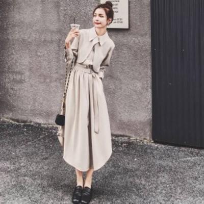 ドレス シフォンドレス 大きいサイズ S~XL 襟付き Aライン 無地 ミモレ丈 ロングワンピース ワンピ レディース
