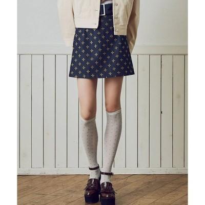【dazzlin(ダズリン)】0218125001-リトルフラワー刺繍ミニスカート