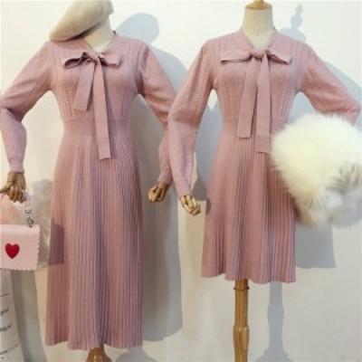 きれいめニットワンピース ロング/ショート 黒/白/ピンク レディース リボン プリーツスカート かわいい プルオーバー 通販 b571