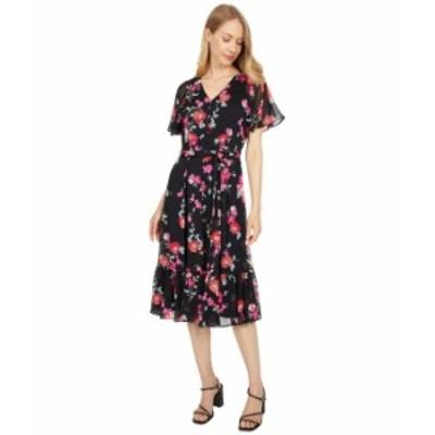 カルバンクライン レディース ワンピース トップス Floral Print Ruffle Sleeve Dress with Self Tie Belt Black/Hibiscus