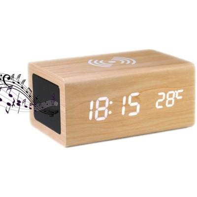 めざまし時計 置き時計 bluetooth5.0スピーカー スマホ充電 付き おしゃれ デジタル 卓上時計 qi ワイヤレス充電時計 インテリア時計