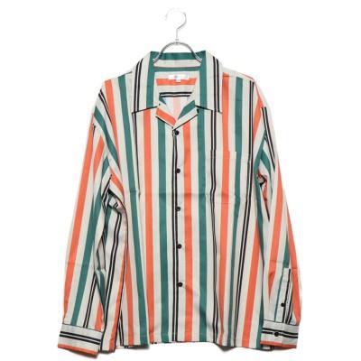 スタイルブロック STYLEBLOCK 総柄長袖ビッグシルエットオープンカラーシャツ (グリーン(ホワイトストライプ))