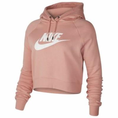 ナイキ レディース パーカー Nike Essential Crop Hoodie フーディー Pink Quartz/White