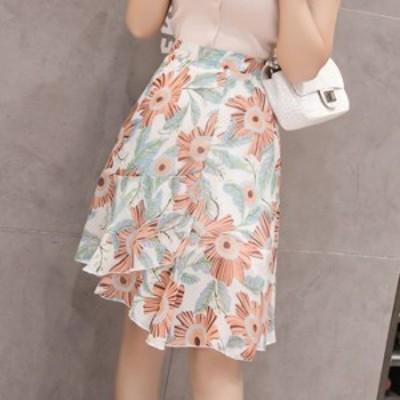 送料無料 花柄フリルスカート レディース スカート 花柄 膝丈 ロング おしゃれ 大きいサイズ
