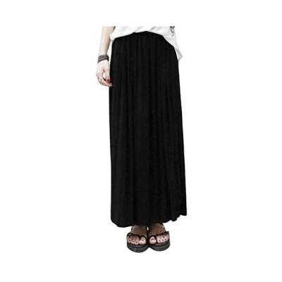 [レッドレイ]グレー マキシ丈 プリーツ スカート 美脚 体型カバー ロングスカート (ブラック Free Size)
