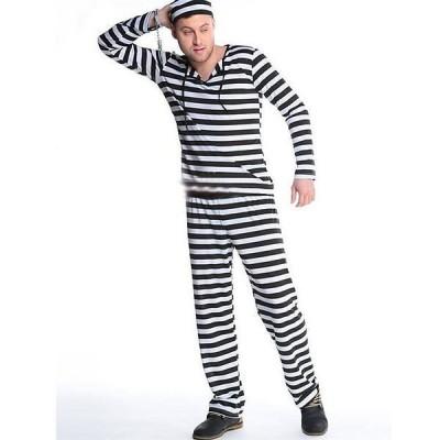 ハロウィン 囚人服 コスプレ 大人用 メンズ レディース ボーダー プリズナーマン セット 仮装 コスチューム 966