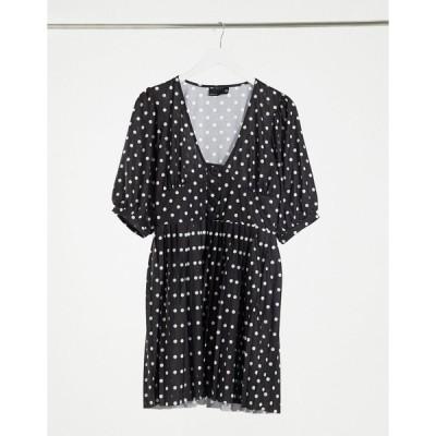 エイソス ミニドレス レディース ASOS DESIGN mini short sleeve pleated dress with button detail in black and white spot エイソス ASOS マルチカラー
