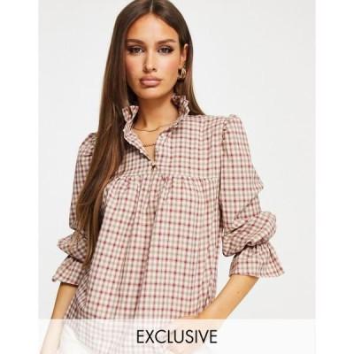 ミスガイデッド レディース シャツ トップス Missguided smock blouse with ruffle in brown check Brown