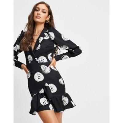 エイソス レディース ワンピース トップス ASOS DESIGN tux wrap mini dress in black spot print Multi