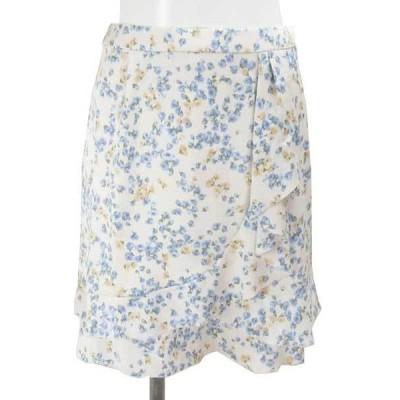 プライドグライド オフ白 ブルー 花柄 スカート 36