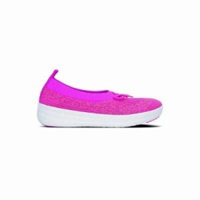 フィットフロップ スリッポン・フラット Fitflop Uberknit Ballerina With Bow (Fuchsia/Dusky Pink) Fuchsia/Dusky P