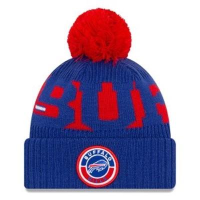 ニューエラ メンズ 帽子 アクセサリー Buffalo Bills New Era 2020 NFL Sideline Official Sport Pom Cuffed Knit Hat Royal/Red
