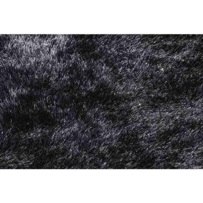 シャギーラグ カーペット 140×200cm ブラック色 長方形 シック ジュウタン タフテッドラグ ホットカーペットOK