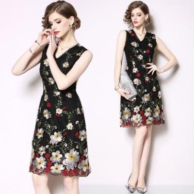 花柄チュールワンピース 30代40代 花柄ワンピース 膝丈 フォーマル 二次会 ノースリーブ ドレスワンピース お呼ばれドレスS/M/L/XL/2XL