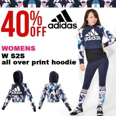 40%OFF アディダス adidas W S2S オールオーバー レディース ショート丈 パーカー スウェット プルオーバー