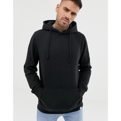 プルアンドベアー メンズ パーカー・スウェット アウター Pull&Bear hoodie in black