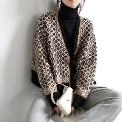 ニットカーディガンアウターレディーストップス秋冬長袖ピンクカーディガンカーデ体型カバー着痩せ韓国風ゆったりおしゃれ30代40代50代