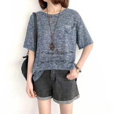 Tシャツ レディース ゆったり Tシャツ 大きいサイズ Uネック 五分袖 ショート丈 ゆったり トップス ファッション 夏新作