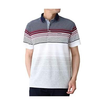 [INSPIRE(インスパイア)] パネルボーダー 半袖 ポロシャツ メンズ L ネイビー 50代 60代向け大人カジュアルブラン?