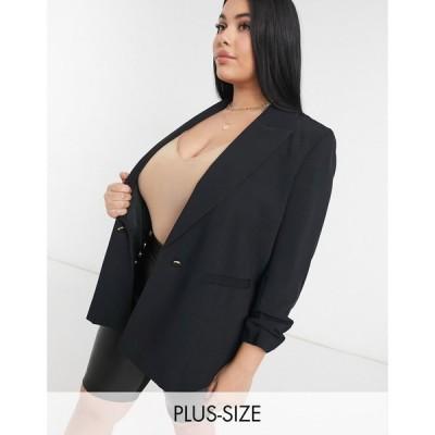 リバーアイランド River Island Plus レディース スーツ・ジャケット アウター ruched sleeve soft blazer in black ブラック