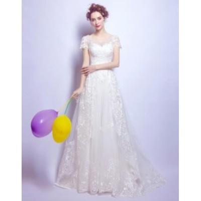 ウエディングドレス 2020春新作品 ブライダル 結婚式 スレンダーライン ロングドレス 花嫁衣装 シンプル 華やか補整花柄 編み上げ TSW-51