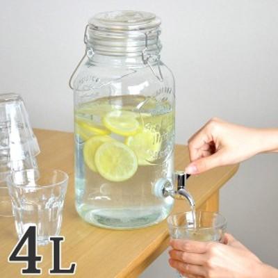 ドリンクサーバー 4L ガラス 蛇口付き ( 梅酒 果実酒 ウォーターサーバー ガラス瓶 ガラス製 瓶 サングリア ジュース作り ドリンクデ