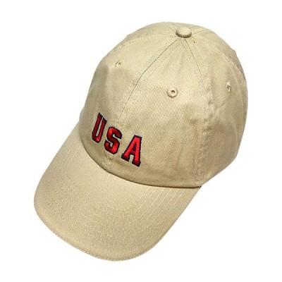ツイルキャップ カーキ USA 刺繍 洗い加工 野球帽 アメカジ