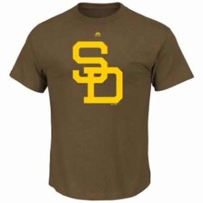 Majestic マジェスティック スポーツ用品  Majestic San Diego Padres Mens Brown Premium Cotton Cooperstown Logo T-Shi