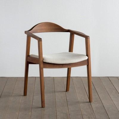 シキファニチア 椅子 プレーン アームチェア 日本製 肘付き 国産ダイニングチェア 国産家具 無垢 オーダーチェア(受注生産・代引き不可)