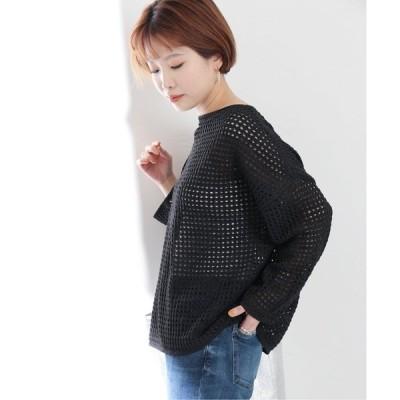 ニット メッシュ編みプルオーバー【手洗い可能】◆