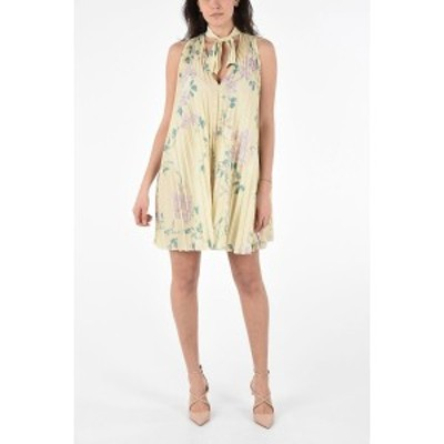 RED VALENTINO/レッド ヴァレンティノ Yellow レディース Floral Print Sleeveless Mini Dress with Bow Neck dk