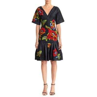 キャロライナヘレラ レディース ワンピース トップス Floral Embroidered V-Neck Belted Denim Dress