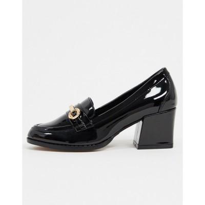エイソス レディース ヒール シューズ ASOS DESIGN Skylar mid-heeled loafers in black patent Black
