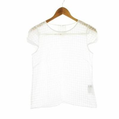 【中古】アンタイトル UNTITLED カットソー 半袖 チェック 2 白 ホワイト /CK レディース