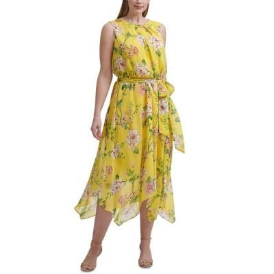 ジェシカハワード ワンピース トップス レディース Plus Size Floral-Print Midi Dress Yellow