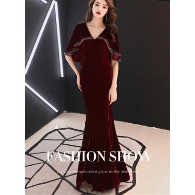 秋早割りSALE中✨ 女性 新品 スリム 気高い エレガント 気質 フィッシュテールスカート ワンビース ベルベット イブニングドレス