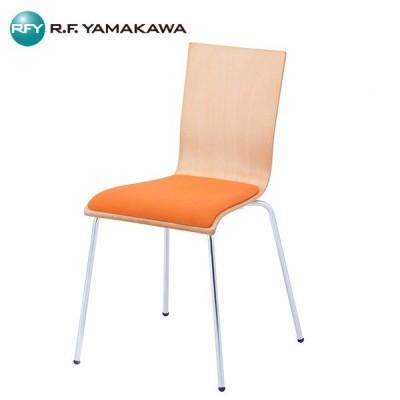 (代引不可)(法人限定)アール・エフ・ヤマカワ: SET プライウッドチェア オレンジパッド付 4脚 RFC-FPOR-4SET 椅子 ミーティング