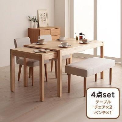 ダイニング 4点セット(テーブル+チェア2+ベンチ1) W135-235 スライド 伸長式 エクステンションテーブル