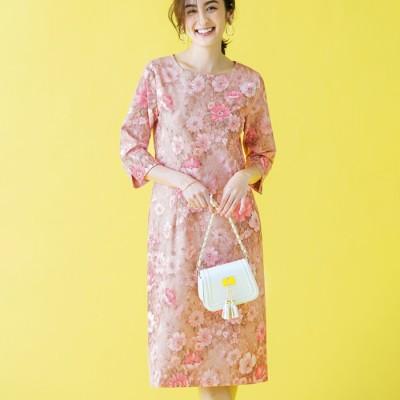 ベルーナ 繊細(せんさい)花柄タイトワンピース ピンクベージュ M レディース