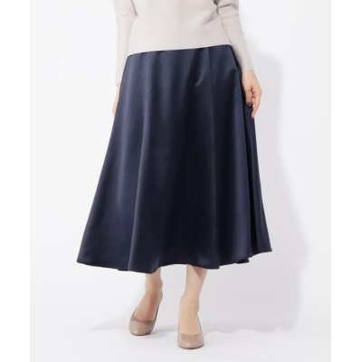grove(グローブ) 【S-LL】細リボンベルト付サテンフレアスカート