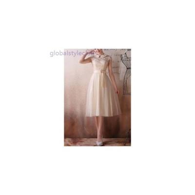 大人 上品 襟 シースルー 刺繍 ノースリーブ ウエストリボン ふんわり Aライン ミモレ シフォン ドレス パーティー 二次会 結婚式