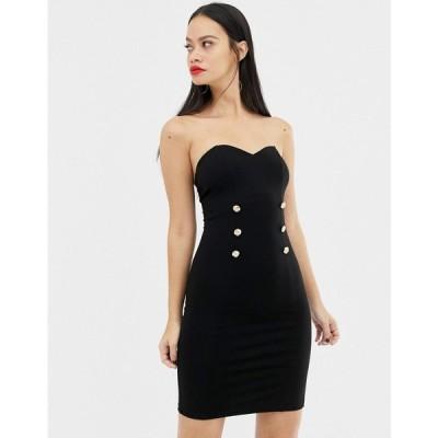 ユニーク21 UNIQUE21 レディース ワンピース ミドル丈 ワンピース・ドレス Unique21 sweetheart neckline midi dress with button detail ブラック